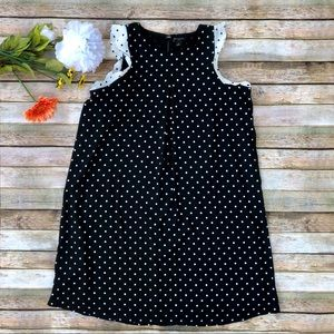 Ann Taylor Petite polka dot sleeveless ruffle top